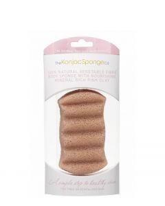 Premium 6 Wave Body Konjac Sponge med rosa ler