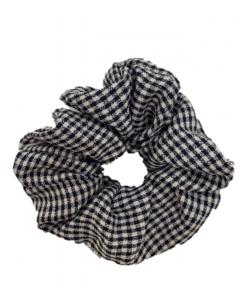 JA•NI Hair Accessories - Hair Scrunchies, The Black Thin Checkered